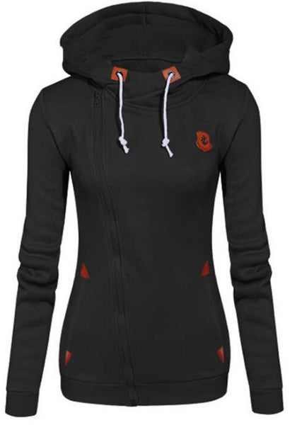 Black Pockets Side Zip Badge Drawstring Hooded Long Sleeve Casual Vogue Hooded Sweatshirt