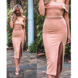 ByChicStyle Pink Plain Cut Out Boat Neck Midi Dress