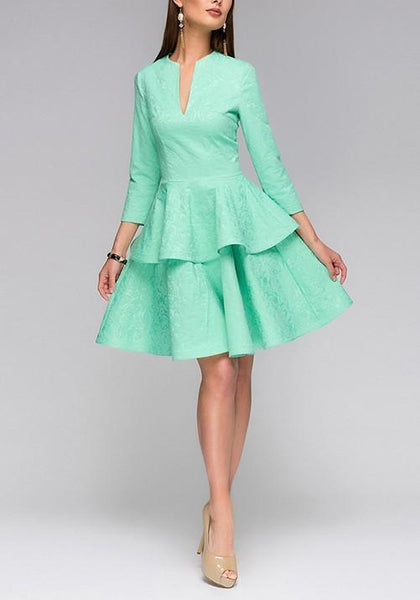 Green Ruffle Pleated V-neck High Waisted Tutu Homecoming Party Sweet Cute Midi Dress