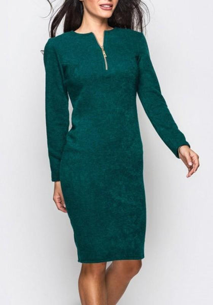 Green Zipper Round Neck Long Sleeve Fashion Midi Dress