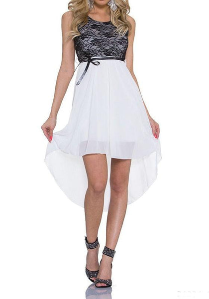 White Patchwork Lace Irregular Round Neck Midi Dress