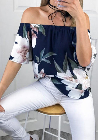 Navy Blue Floral Irregular Ruffle Boat Neck Short Sleeve Blouse