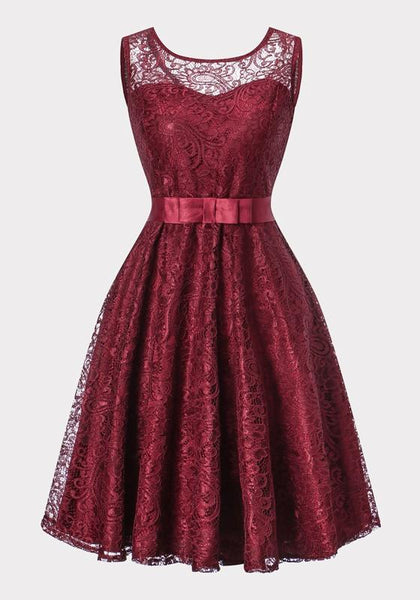 Burgundy Lace Bow Pleated Sashes Tutu Party Midi Dress