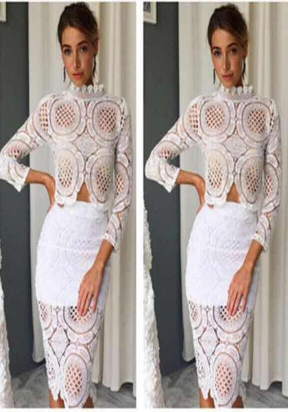 White Floral Lace Cut Out Two Piece Band Collar Party Midi Dress