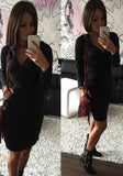 ByChicStyle Black Ruffle Zipper V-neck Long Sleeve Casual Mini Dress