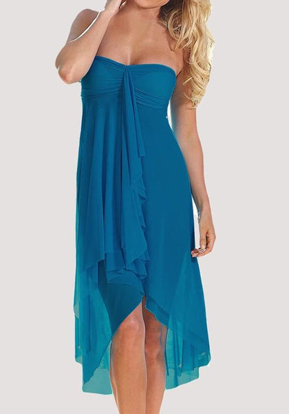 Blue Irregular Draped Off Shoulder Backless Multi Way Beach Midi Dress