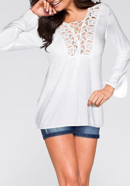 White Cut Out Lace-up V-neck Office Worker/Daily Elegant Blouse