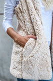ByChicStyle Beige Plain Pockets Hooded Fashion Cardigan Cashmere Vest