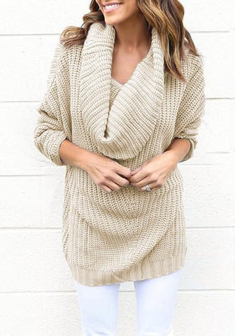 Apricot Cowl Neck Long Sleeve Fashion Knit Pullover Sweater