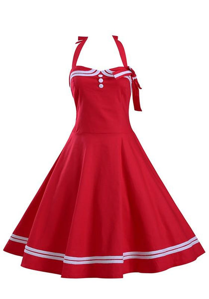 Red Plain Ruffle Bow Sleeveless Lace Up Fashion Slim Midi Dress
