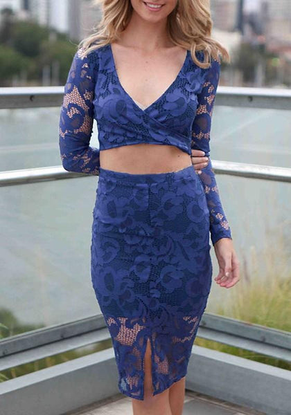 Blue Patchwork Hollow-out Lace Long Sleeve Midi Dress