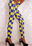 ByChicStyle Blue-Yellow Checkered Plaid Sports Yoga Workout Long Legging