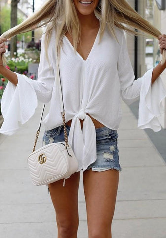 White Knot Flare Sleeve V-neck Going out Casual Blouse