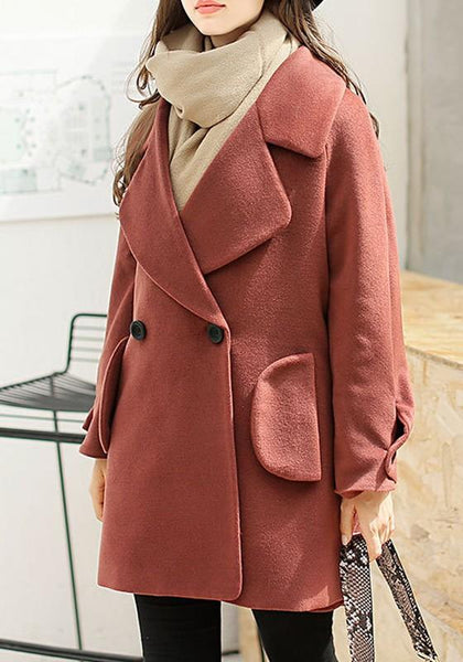 Red Pockets Buttons Tailored Collar Long Sleeve Wool Coat