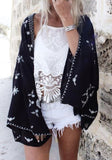 ByChicStyle Black Floral Kimono Sleeve Fashion Loose Cardigan Outerwear