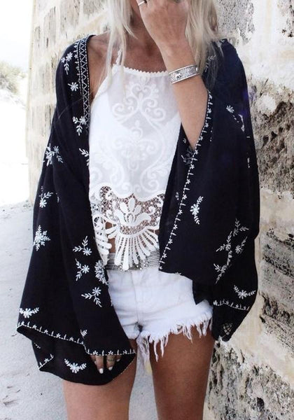 Black Floral Kimono Sleeve Fashion Loose Cardigan Outerwear