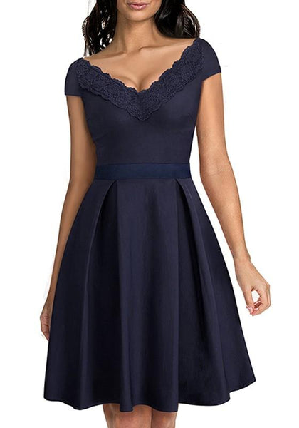 Dark Blue Patchwork Embroidery V-neck Short Sleeve Knee Length Fashion Midi Dress