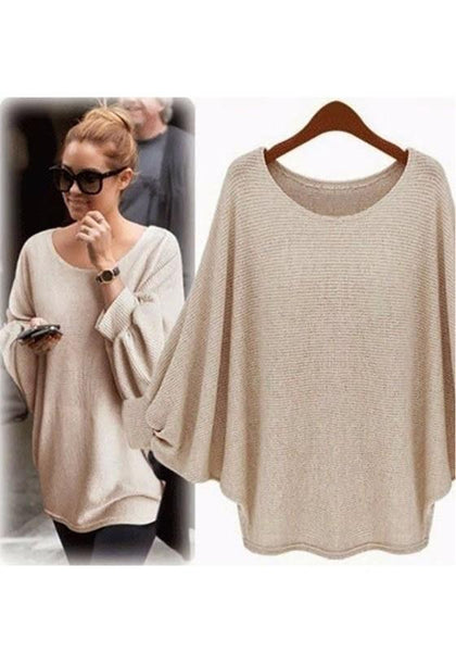 Khaki Round Neck Dolman Sleeve Loose Casual Pullover Sweater
