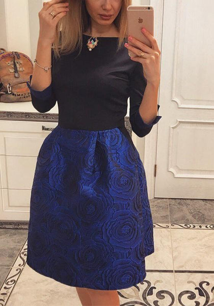 Navy Blue Floral Print Pockets Round Neck Sweet Midi Dress