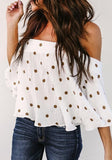 ByChicStyle White Polka Dot Pleated Off Shoulder Backless Sweet Going out Blouse