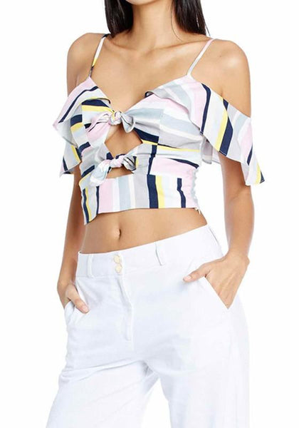 White Striped Condole Belt Bow Cut Out Crop V-neck Fashion T-Shirt