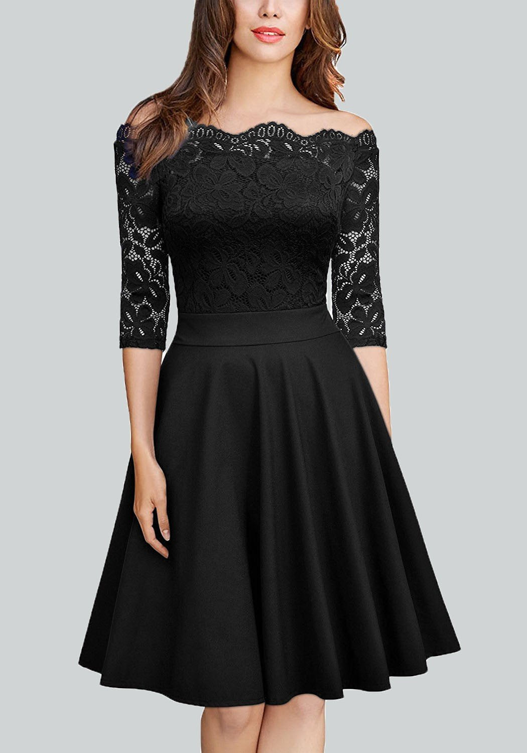 Black Patchwork Lace Pleated Off Shoulder Backless Long Sleeve Homecoming Party Midi Dress