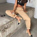ByChicStyle Khaki Chains Pockets Drawstring Zipper High Waisted Going Out Casual Long Pants