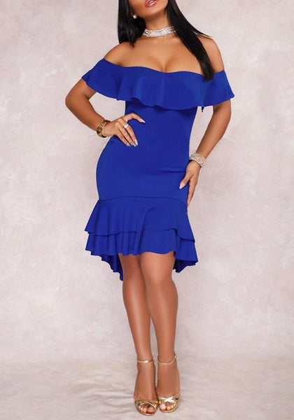 Blue Off Shoulder Cascading Ruffle High-Low Prom Evening Party Midi Dress