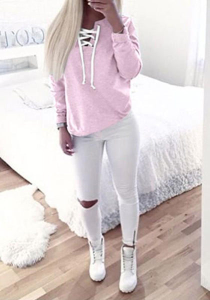 Pink Plain Lace Up Cut Out Long Sleeve Fashion Casual Sweatshirt