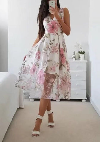 Pink Floral V-neck Grenadine Draped Double-deck Sleeveless Elegant Midi Dress