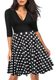 ByChicStyle Black Polka Dot Deep V-neck High Waisted Half Sleeve Skater Midi Dress