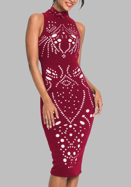 Date Red Cut Out Bodycon Plus Size Band Collar Banquet Elegant Midi Dress