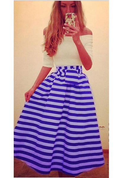 Blue-White Plain Sashes Boat Neck Going out Midi Dress