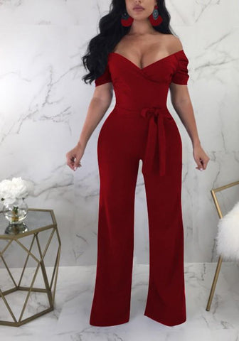 Burgundy Sashes Ruffle Bowknot Off Shoulder High Waisted Elegant Wide Leg Long Jumpsuit