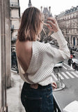 ByChicStyle White Polka Dot Cut Out Turndown Collar Long Sleeve Fashion Blouse