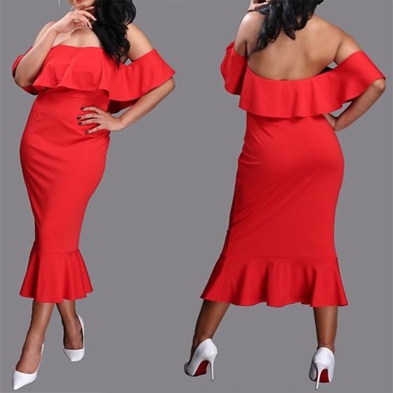 Nacarat Bandeau Ruffle Boat Neck Off Shoulder Mermaid Backless Midi Dress
