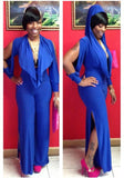 ByChicStyle Blue Cut Out Pleated Hooded Long Sleeve Slit Wide Leg Long Jumpsuit