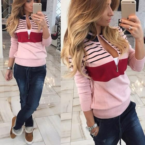 Pink Striped Zipper Round Neck Fashion Pullover Sweater