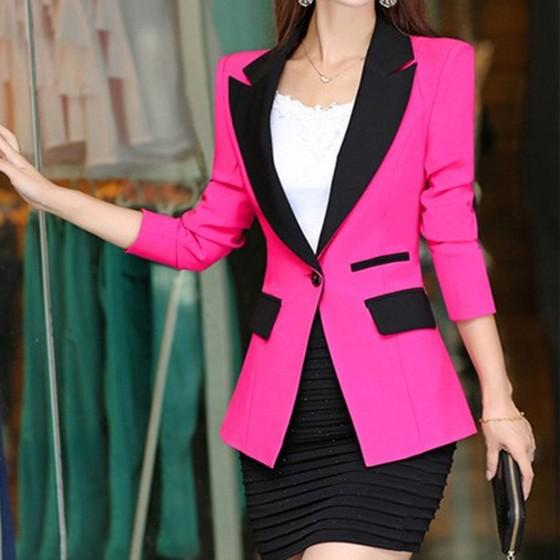 Rose Carmine Patchwork Buttons Tailored Collar Fashion Suit