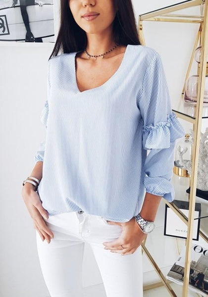 Blue Striped Ruffle V-neck Long Sleeve Fashion Blouse