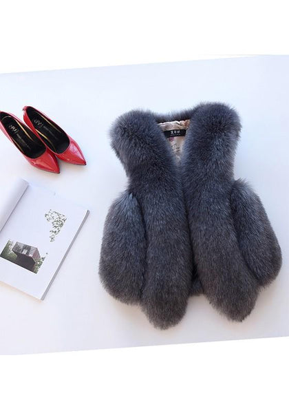 Dark Grey Irregular V-neck Sleeveless Fashion Fur Vest Coat