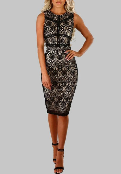 Black Patchwork Lace Round Neck Sleeveless Bodycon Midi Dress