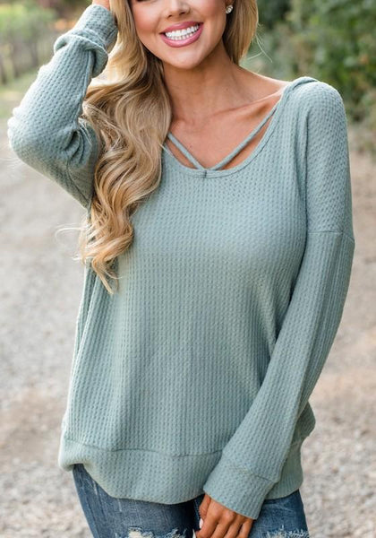 Green Plain Cut Out Casual Hooded Pullover Sweater