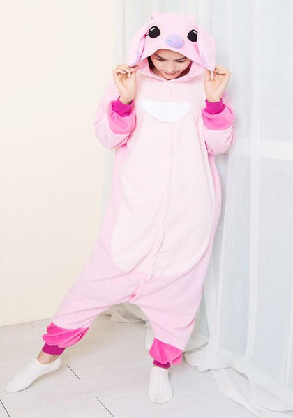 Pink Animal Stitch Irregular High Waisted Loose Cute Pajamas Long Jumpsuit