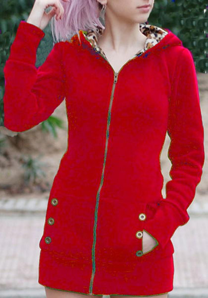 Red Patchwork Pockets Hooded Zipper Long Sleeve Cardigan Coat