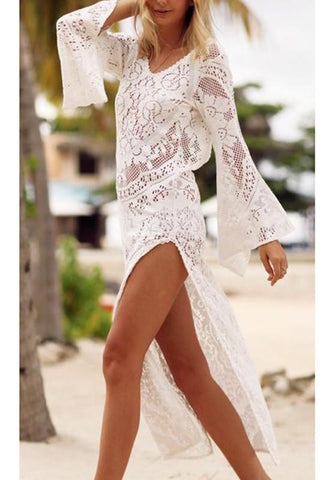 White Patchwork Lace Cut Out V-neck Midi Dress