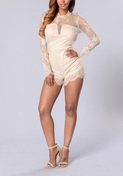Beige Lace Round Neck Fashion Short Jumpsuit