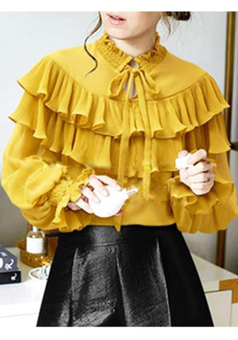 Yellow Ruffle Lace-up Plus Size Peter Pan Collar Long Sleeve Blouse