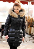 ByChicStyle Black Patchwork Fur Collar Zipper Pockets Belt Long Sleeve Down Coat