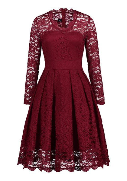 Red Lace Buttons Draped Banquet Elegant Party Midi Dress
